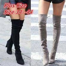 Botas de ante de imitación ajustadas hasta la rodilla para mujer, zapatos a la moda, Botas Largas de talla grande