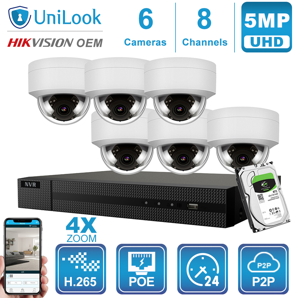 Hikvision OEM 8CH 4K NVR 5MP 4X Optical Gray/White POE IP Camera 4/6/8PCS Outdoor Security System CCTV NVR Kit With 1/2/4TB HDD