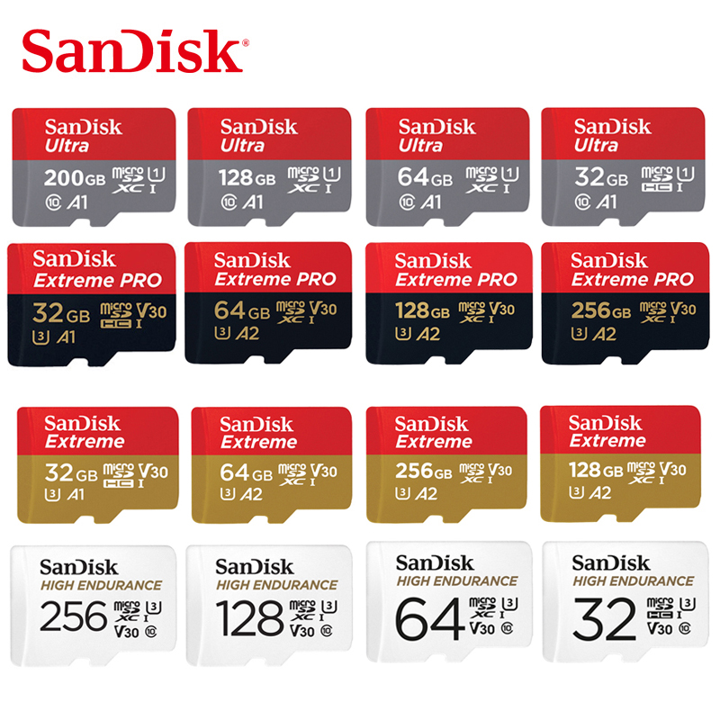 SanDisk MicroSD Card 128GB 256GB 512GB Memory Card  SDHC/SDXC 32GB 64GB Class10 TF Card For Smartphone Drones Video Monitoring