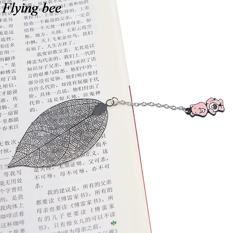 Flyingbee Leave Pendant Creative Theme Silver Metal Bookmarks  Book Markers Page Holder For Books Stationery Gifts X0786