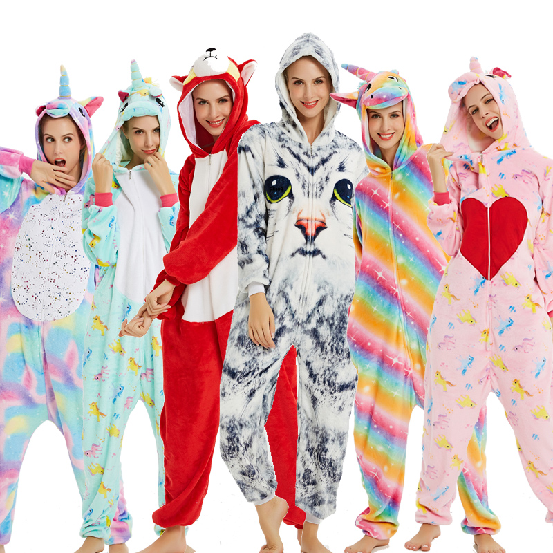 New Style Unicorn Pajamas Adults Animal Onesies For Women Pajamas Suit Cartoon Kigurumi Uincorn Men Winter Flannel Sleepwear