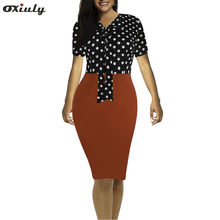 Women Bow V Neck Vintage Polka Dot Floral Office Midi Formal Stretch Pencil Office Work Short Sleeve Body-con Sheath Party Dress contrast bow embellished polka dot pencil dress