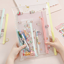 Cute Little Student Girl PVC A4 A5 B6 Transparent File Bag Folder with Stickers Organizer Document Holder Office Supplies