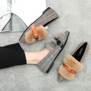 Image 5 - SWYIVY חורף דירות נעלי נשים פרוותי ופרס להחליק על 2019 חצאיות חדשות גבירותיי Moccasin נעלי נשים דירות פרווה בטלן נעליים נשים