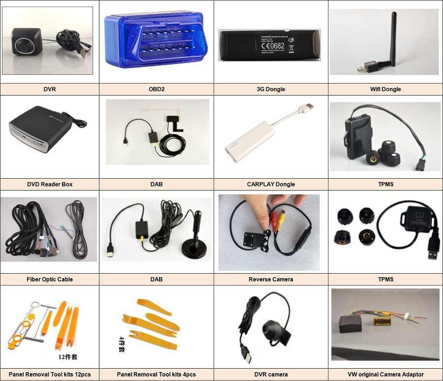 Araç DVD oynatıcı aksesuarları, OBD2 cihazı, USB DVR kamera, CARPLAY Android oto dongle, 3G 4G Dongle, paneli temizleme araçları, ters kamera