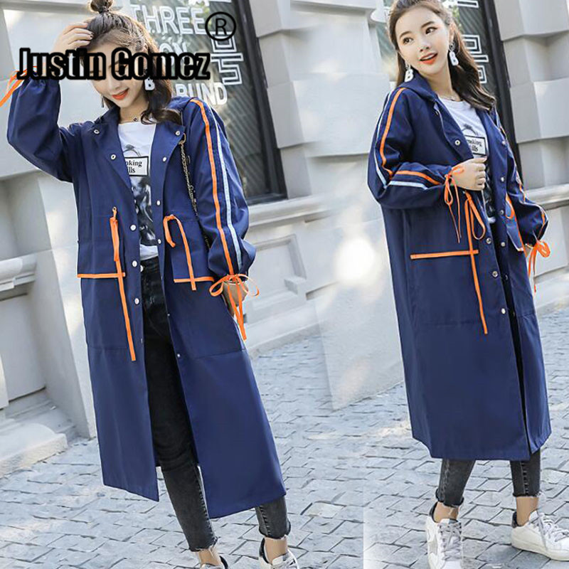 Korean Design Elegant Woman   Trench   Coat Long Sleeve Oversized Female Windbreaker Modis Loose Streetwear Women's Coat with a Hood