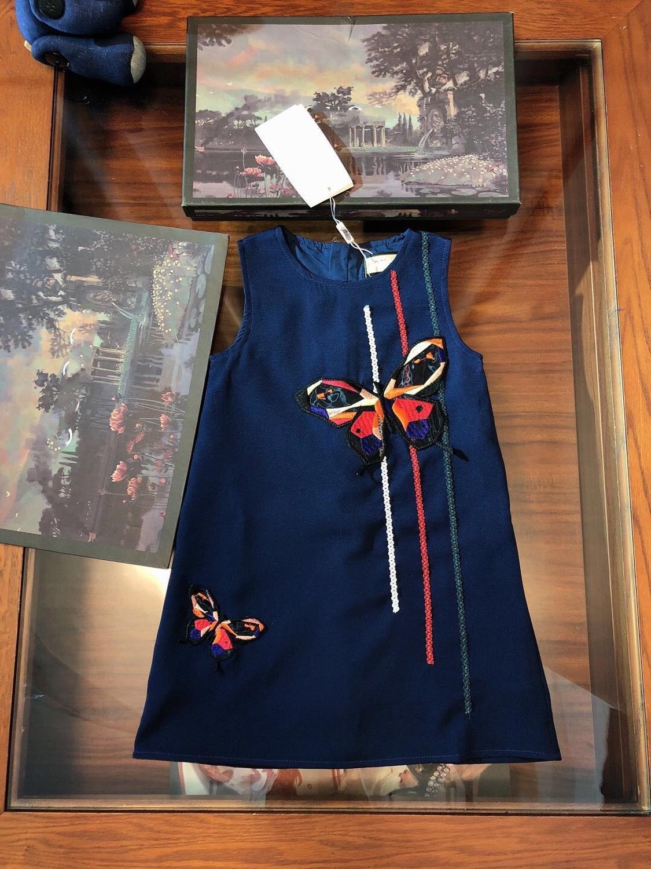 GG été nouveau bleu marine beau papillon motif gilet robe mode simple doux sans manches col rond a-ligne filles robe