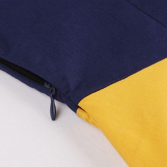 Plus Size Women Blue Yellow Patchwork Vintage Dress Notched Collar Button Belt 50s Dress Elegant Rockabilly Party Swing Dress