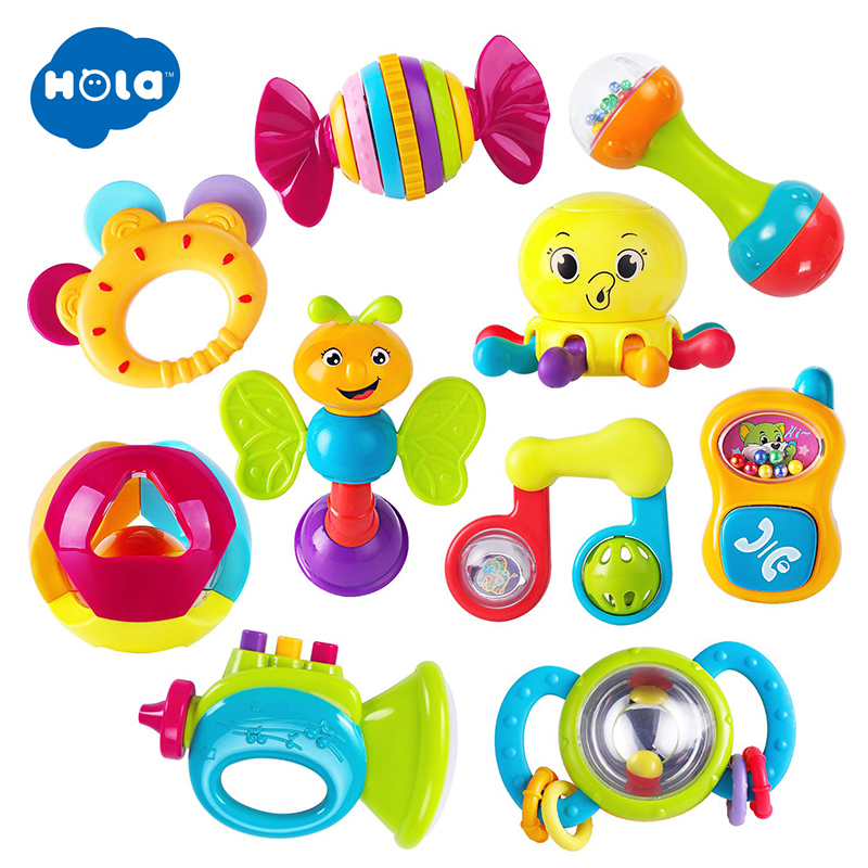 HOLA 939 Baby Rattle Toys For Newborns 0-12 Months Plastic Rattles For Babies 13 24 Months Rattle Toy Kids Early Educational Toy