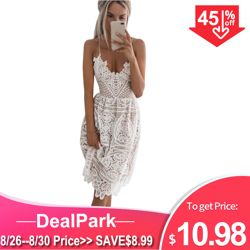 Lace Dress Backless Party Female Black Deep-V-Neck Sexy White Summer Vestidos