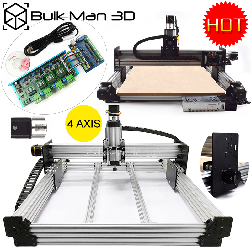 4 Axis WorkBee CNC Router 1515 CNC Milling Machine Full Kit STB5100 Mach3 1.5KW/2.2KW CNC Mill PCB Wood Plastic Carving Machine