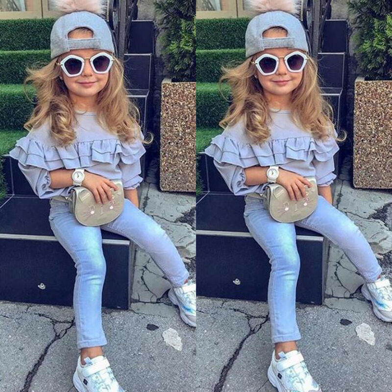Infant Baby Girls 1T-6T T-Shirt Ruffle Tops Leggings Long Pants Kids Outfits Clothes