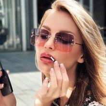 New CHIC Gradient Rimless Sunglasses Women Brand Designer Ri