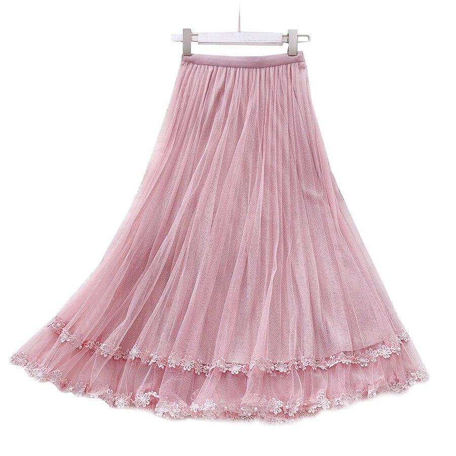 Delicate Flower Embroidered Tulle Skirt Beading Lace Women's Skirts 2020 New Spring Summer Sweet Slim Mesh Skirt Jupe Femme