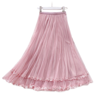 Delicate Flower Embroidered Tulle Skirt Beading Lace Women's Skirts 2020 New Spring Summer Sweet Slim Mesh Skirt Jupe Femme flower embroidered mesh shoulder top