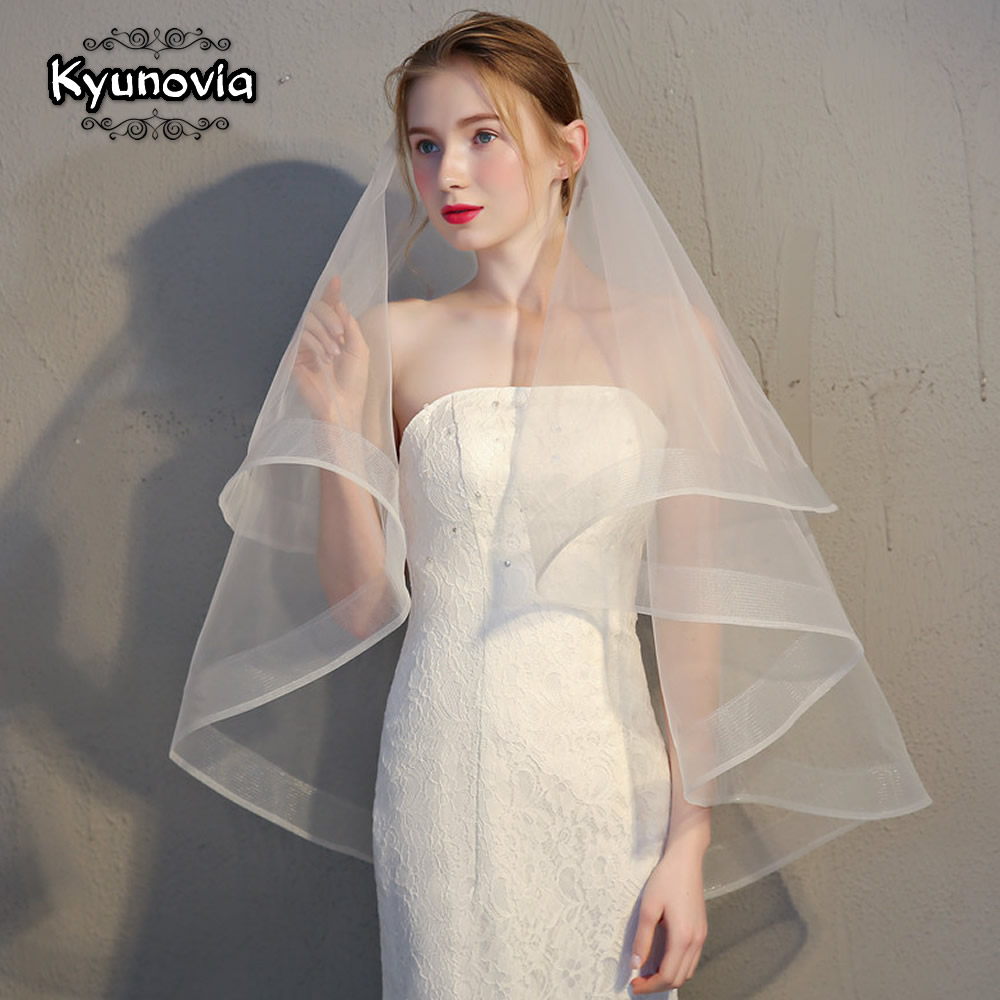 Kyunovia Women Veils Short Wedding Ivory Comb White Two-Layers with D18 Ribbon-Edge Simple