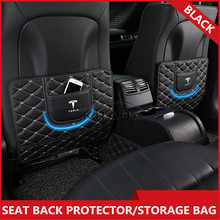 2PCS Universal Seat Back Bags For Tesla Model 3 Model X Model S Storage Kick Mat Protector Anti-kicking Pad Car Care Accessories