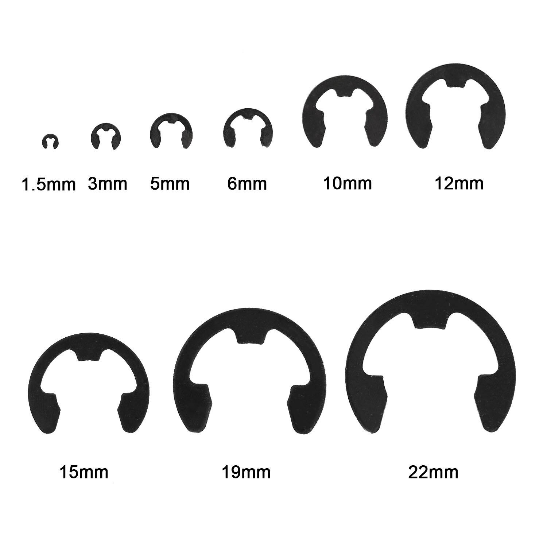 300pcs Shaft Cir Clip Locking Washer Lock Snap Holes Collar Wash Internal Retaining E-Type Clips Washers