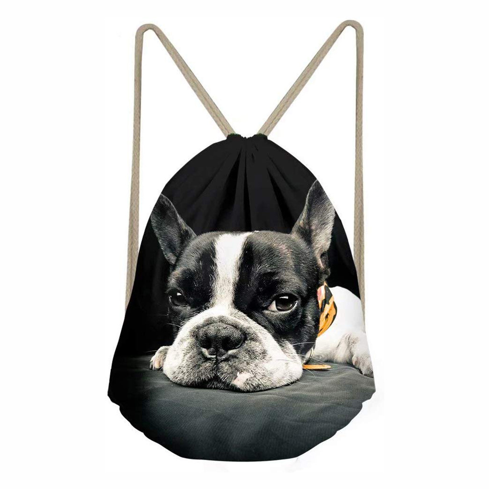 String Bag 3D Boston Terrier Backpacks For Teenagers Shoulder Bag Custom Women Men Drawstring Bags Backpack Travel Storage Pouch