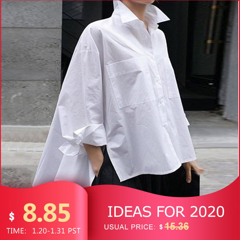 VONDA Solid Color Party Tops 2019 Spring Lapel Neck Shirts Summer Beach Tops Female Asymmetrical Blouse Casual Blusa 5XL Tunics