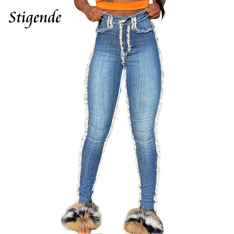 Женские джинсы карандаш Stigende, рваные джинсы с кисточками, узкие брюки средней длины с карманами, большие размеры|Узкие джинсы|   | АлиЭкспресс