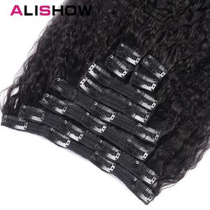 Image 4 - Alishow Hair Kinky Striaght Clip In Human Hair Extension 120g Brazilian Natural Hair in Clips Full Head Remy Hair Natural Color