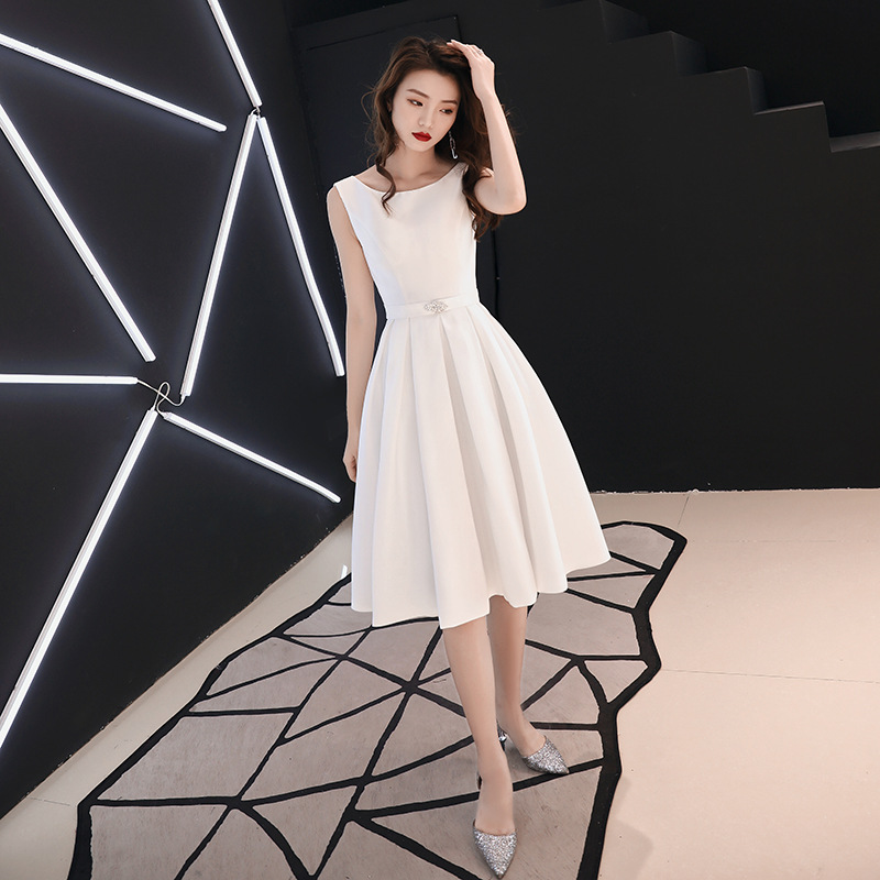 Evening Gown Women's Banquet 2019 New Style Slim Fit Slimming White Birthday Party Shoulder Dress