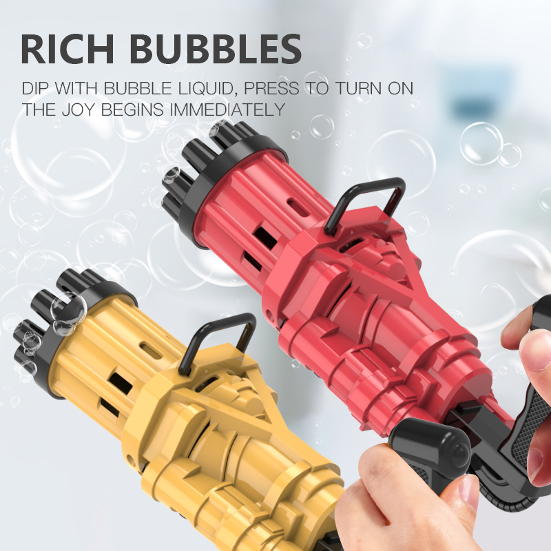 Bubble gun toy automatic Gatling bubble machine kids toy outdoor/party/bath summer soap water 2 in 1 electric bubble blaster toy