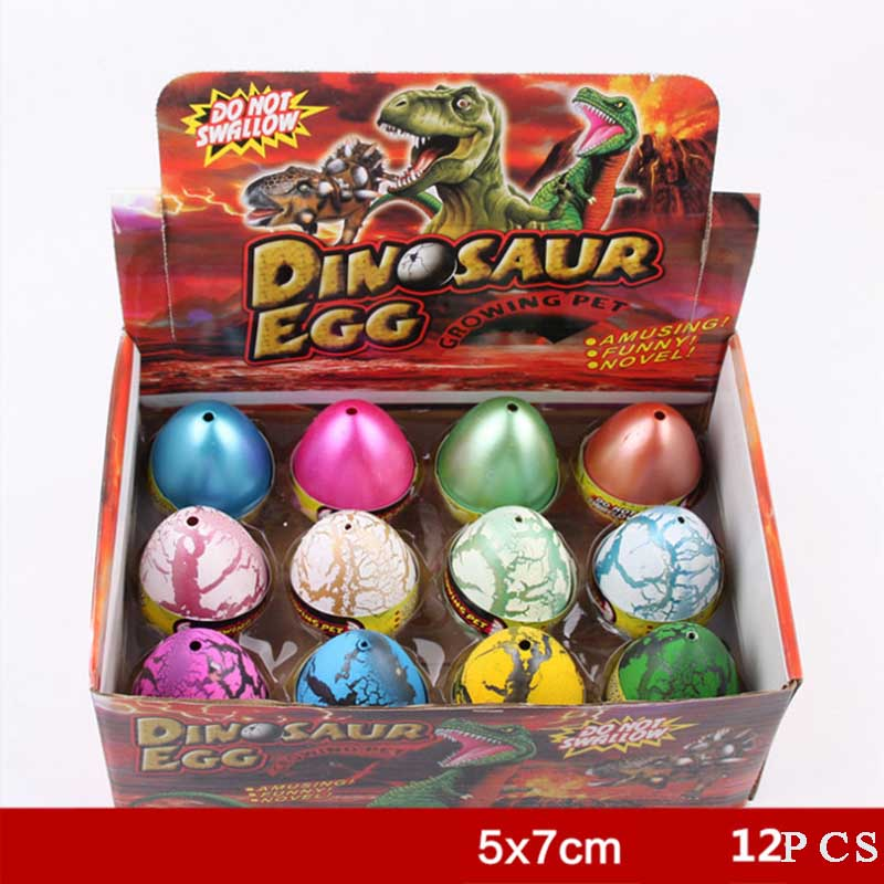 12PCS Cute Magic Hatching Growing Dinosaur Eggs Add Water Growing Dinosaur Novelty Gag For Child Kids Educational Toys Gifts