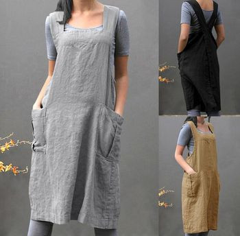 Garden kitchen cooking apron Brief Nordic wind Pleated skirt linen apron Coffee shops and flower shops work aprons for woman berlin shops