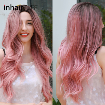 Inhaircube Ombre Pink Hair Dark Brown Root Cosplay Wig Synthetic Wigs Heat Resistant Long Wavy Natural Hairline Free Hairnets цена 2017
