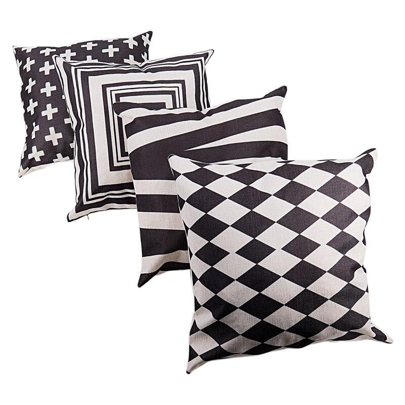 Promotion! 4PCS Simple Geometric Black And White Creative Linen Cotton Pillow Case Car Seat Cover Cushion