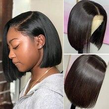 Парик Из прямых волос, парик из перуанского Боба MIHAIR 13*4, парики из человеческих волос на сетке спереди для черных женщин, предварительно выщипанные Детские волосы, парик без повреждений