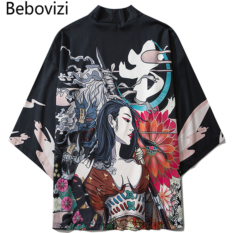 Bebovizi 2020 Japanese Style Casual Kimono Streetwear Men Women Fashion Cardigan Japan Harajuku Anime Thin Robe Clothes