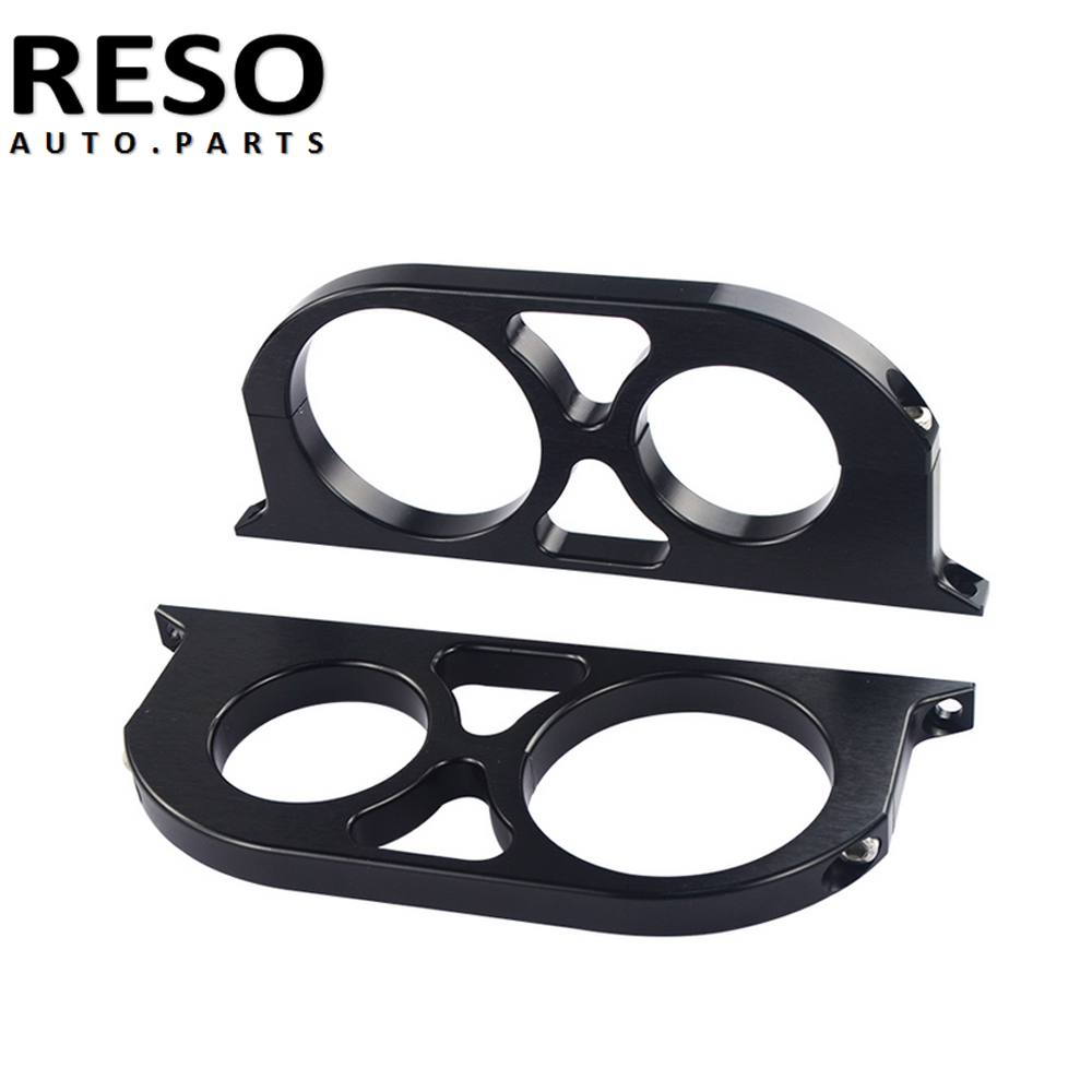 2Pcs Double Billet Fuel Pump Filter Mounting Bracket <font><b>Clamp</b></font> Kit 44mm&<font><b>60mm</b></font> Blue Black image