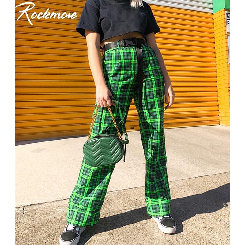 Rockmore Green Plaid Women Straight Pants Harajuku High Waisted Joggers Oversized Checkered Streetwear Casual Wide Leg Pants