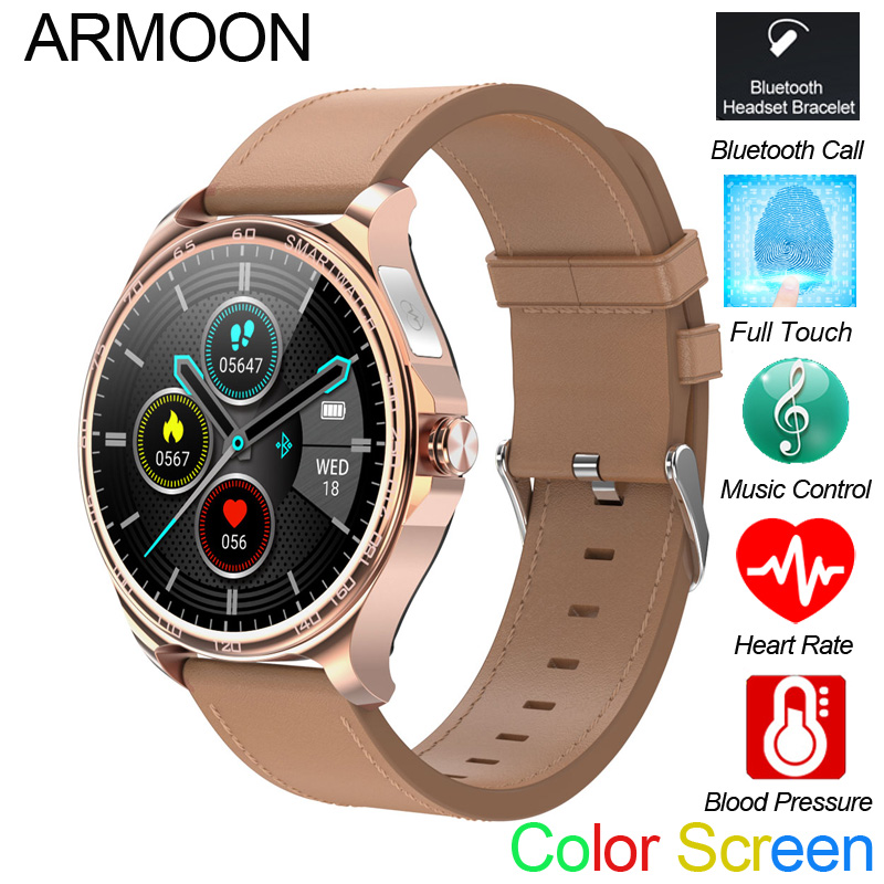 Smart Call Watch R26 Bluetooth Hand Free Full Touch Fitness Tracker Band Men Women ECG Heart Rate Round Music Sports Smartwatch