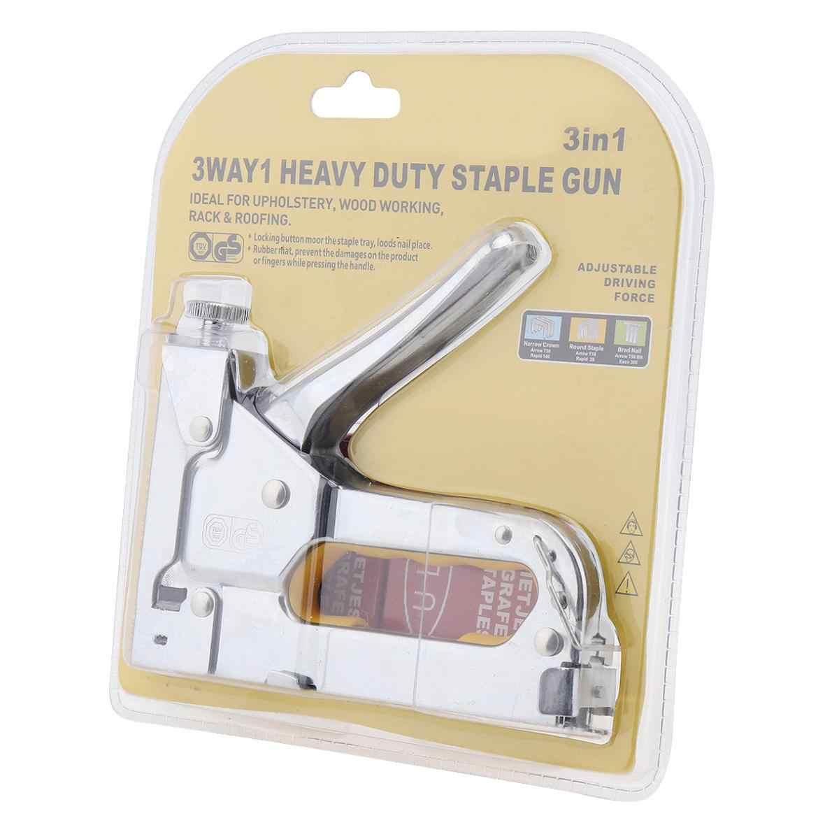 Srebrny ręczny pistolet do gwoździ trójfunkcyjny zszywacz do paznokci z 600 szt. Gwoździ do zszywacz tapicerski tapicerka narzędzia do obróbki drewna