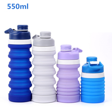 Portable Silicone Collapsible Water Bottle for Sports Outdoor Travel Telescopic Bottle Collapsible Kettle Drink Bottle 550/750ml wtsfwf freeshipping multiplepurpose sports bottle kettle clamp silicone rubber fixture clamp for sports bottle kettle 3d sublima