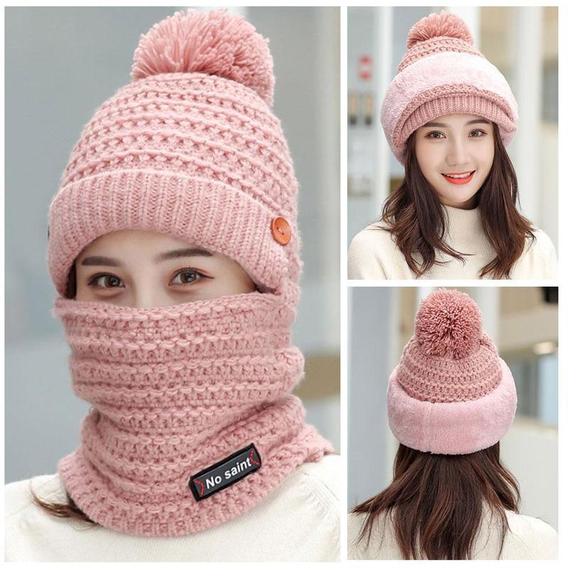 Women's New Plus Velvet Knit Hat Winter Riding Integrated Winter Hat Fashion Bib One-piece Warm Hat