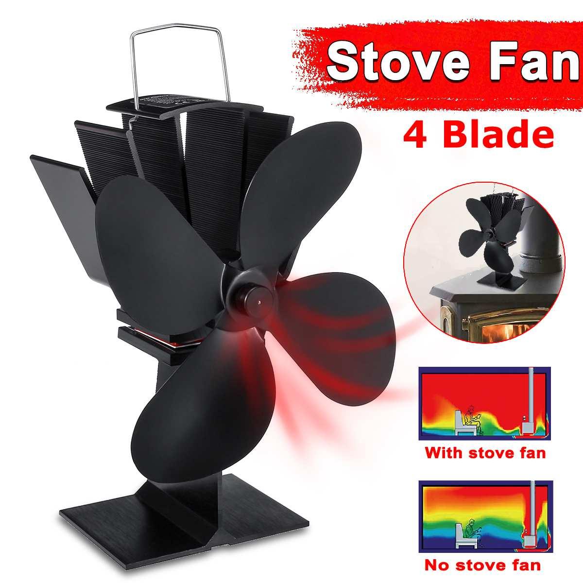 Black 4 Blades Heat Powered Stove Fan Log Wood Burner Ecofan Friendly Quiet Fan Home Fireplace Fan Efficient Heat Distribution