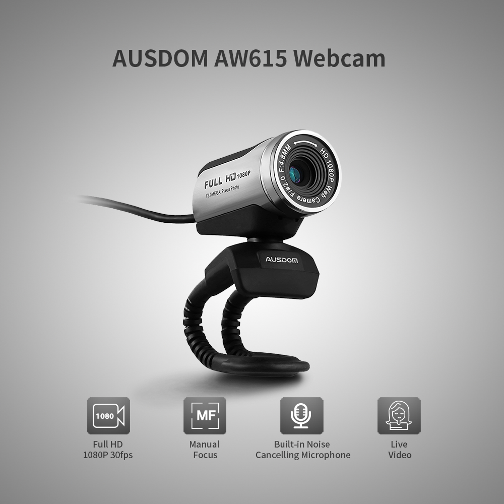 Ausdom AW615 1080P Webcam Built-in Microphone With USB 2.0 For  Laptop Live Broadcast Video Conference Work Computer Camera