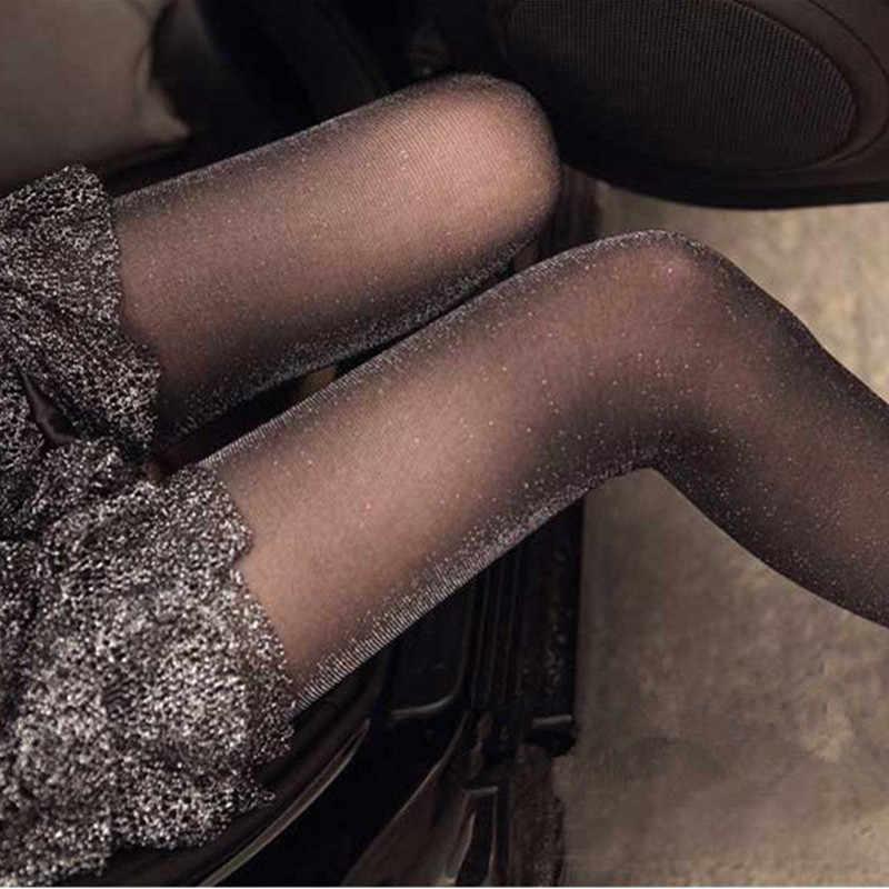 1PC moda kobiety panie Sexy urocze błyszczące rajstopy brokat pończochy damskie błyszczące cienkie rajstopy lato jesień gorąca sprzedaż