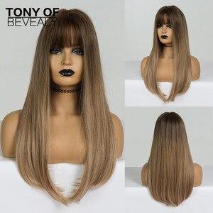 Image 2 - 아프리카 여성을위한 bangs와 긴 스트레이트 합성 가발 Ombre 블랙 그레이 내열성 코스프레 헤어 가발