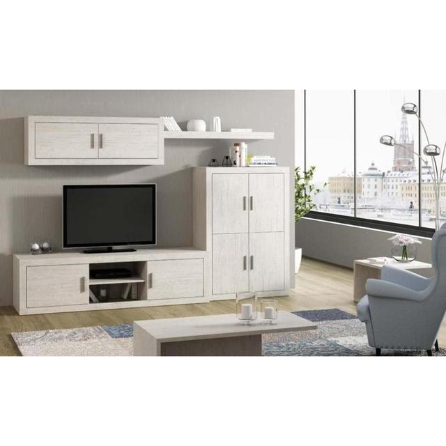 Mueble de salón completo, color blanco artico, muebles de TV, apilables ref-199 1