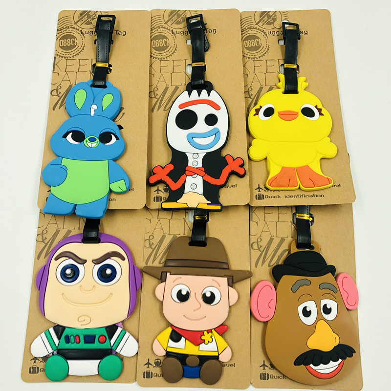 Action Toy Story 4 Luggage Tags FORKY Bunny Ducky  Aliens Lotso Model Children Gift PVC Bag Tag Decor Toy Story 4 Buzz Lightyear