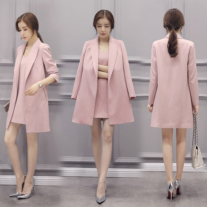 Autumn Winter Women Pink   Trench   Overcoat Fashion Long   Trench   Pink Elegant Office Lady Business Workwear