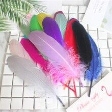 Хорошее качество перо 50 шт./лот натуральный белый гусиных перьев 14-20 см свадебное украшение DIY красочные перья Материал аксессуары