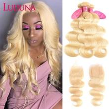 Luduna 613 Blonde Bundles With Closure 브라질 인체 헤어 위브 번들 Remy Body Wave 3 Bundles With Closure
