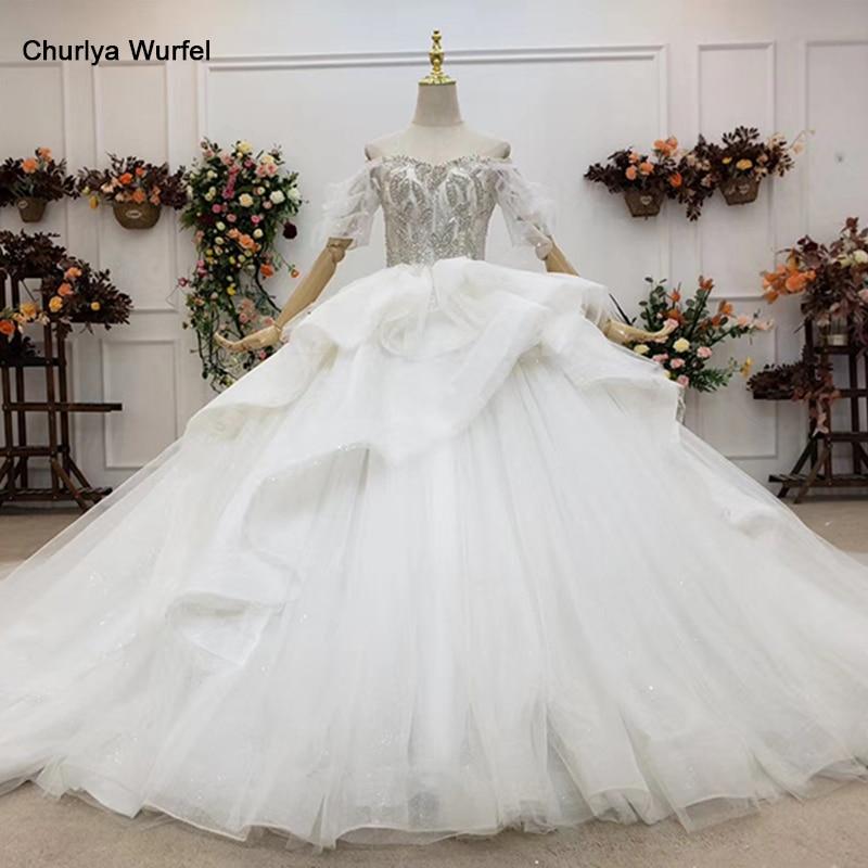HTL1514 Ball-Gown Wedding-Dresses 2020 New Luxury Sexy Backless Beaded Sequins Bridal Gown Real Photos Vestido De Novia De Lujo
